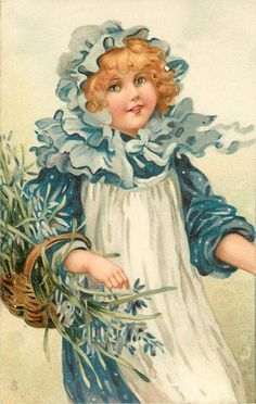 I ❤ vintage ephemera . . . Girl with blue & white dress, & bluebells circa1907