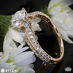 18k Rose Gold Ritani Classic Split Shank Diamond Engagement Ring...