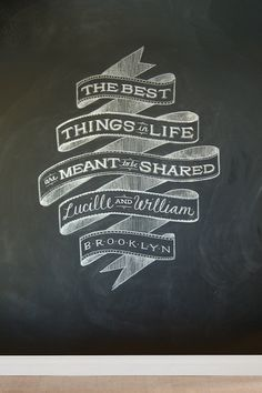 Lovely chalk art from the up-and-coming NY graphic designer Dana Tanamachi.  Liking that typography!