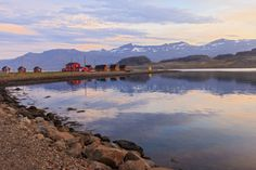Cabins in the small town of Eskifjordur at Mjoeyri Guesthouse in eastern Iceland. The cabins sit at the head of the town's fjord. Photo by Yvette Cardozo