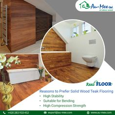 Give your floors good stability and high compressive strength with the help of solid wood teak flooring. Teak Flooring, Compressive Strength, Stability, The Help, Floors, Solid Wood, Furniture, Home Decor, Products