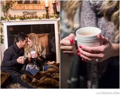 warming up by the fireplace after a winter engagement session  | Chicago engagement photos idea | Chicago engagement photos | Millennium Park engagement | Jill Tiongco Photography