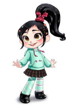 """Vanellope von Schweetz: Sassy and spunky, this """"glitch"""" seeks her rightful place among the other racers in Candy Rush. Wreck-It Ralph Disney Fan Art, Disney Pixar, Film Disney, Disney And Dreamworks, Disney Movies, Disney Characters, Cute Disney, Disney Dream, Disney Girls"""