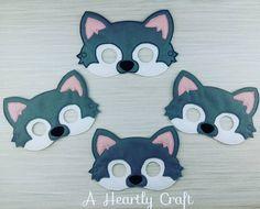 Family Set Wild Husky Wolf Mask Woodland Animal Costume