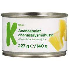 K-Menu ananaspalat ananastäysmehussa Shot Glass, Salt, Menu, Tableware, Food, Menu Board Design, Dinnerware, Tablewares, Essen
