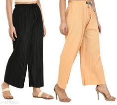 Checkout this latest Palazzos Product Name: *Gladly Women's Solid beautifull Pallazzos for women and Girls 2Pcs Combo* Fabric: Polyester Pattern: Textured Multipack: 2 Sizes:  28 (Waist Size: 28 in, Length Size: 37 in)  30 (Waist Size: 30 in, Length Size: 37 in)  32 (Waist Size: 32 in, Length Size: 37 in)  34 (Waist Size: 34 in, Length Size: 37 in)  36, 38 Easy Returns Available In Case Of Any Issue   Catalog Rating: ★4 (405)  Catalog Name: Fancy Fabulous Women Palazzos CatalogID_2330673 C79-SC1039 Code: 024-12178900-6111