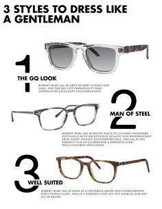 The 3 men's frames every gentleman needs this spring. #SS16 #robertmarc #style Robert Marc Eyewear