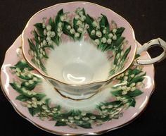 Queen Anne China Tea Cup and Saucer, Stuning Vintage Lily of the Valley Design