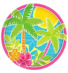 """Amazon.com: Custom & Unique {7"""" Inch} 60 Count Multi-Pack Set of Medium Size Circular Round Paper Plates w/ Summer Scene Tropical Luau Hawaiian Birthday """"Pink, Green, Yellow & Blue Colored"""": Kitchen & Dining"""