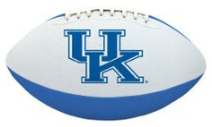 NCAA Kentucky Tailgater Football by Licensed Products. $8.71. Designed With Team Colors and Primary Logo. Packaged With Black Kicking Tee. Junior Size Playable Football - 10-Inches. Stitched Rubber Material For Ease In Throwing & Catching. Each football's playable pebble design is inspired by the helmets the teams wear on the field - bringing the action closer to the backyard or park than ever before!. Save 49% Off!