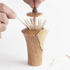 Pop-up Toothpick Dispenser Woodworking Plan, Turning Projects Gifts & Decorations Kitchen Accessories