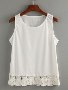 SheIn offers White Lace Trim Tank Top & more to fit your fashionable needs. Fast Fashion, Fashion Online, Womens Fashion, Lace Trim Tank Top, Couture Tops, Embroidery Fashion, White Fashion, Diy Clothes, White Lace