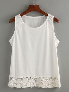 Shop White Lace Trim Tank Top online. SheIn offers White Lace Trim Tank Top & more to fit your fashionable needs.