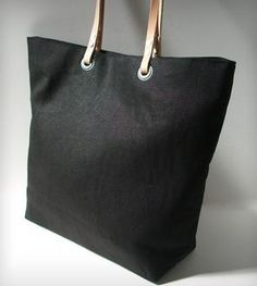 Linen and Leather Tote Bag - Black