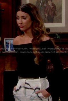 Steffy's black off-shoulder top and white skirt on The Bold and the Beautiful.  Outfit Details: http://wornontv.net/51334/ #TheBoldandtheBeautiful