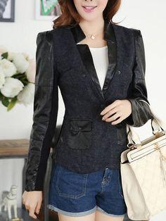Designed V Neck Suede Contrasting Color Blazer Blazers from fashionmia.com