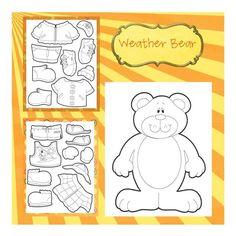 Weather Bear - I've been looking for this pattern! For preschool time Preschool Weather, Weather Activities, Preschool Science, Preschool Classroom, Preschool Learning, Toddler Activities, Learning Activities, Preschool Activities, Toddler Preschool