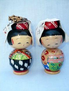 "2 Unusual Vintage 4 3 4"" Wood Japanese Bobble Head Nodder Kokeshi Dolls   eBay"