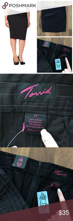 "NWT Torrid Pencil Stretch Skirt, Pinstriped Black Brand new with tags. No flaws. 40"" waist - length ranges 25-27"" - smoke free pet friendly home torrid Skirts Pencil"