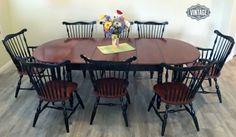 """Gorgeous refinished dining set in General Finishes Georgian Cherry Gel Stain and Lamp Black Milk Paint by Twisted Vintage Az! Learn more about how to apply GF Gel Stain in these videos: """"How to Apply Gel Stain to Raw Wood"""" https://www.youtube.com/watch?v=vGMJWz3mnEo """"How to Update Cabinets with Gel Stain"""" https://www.youtube.com/watch?v=OgX5yE5rUbo"""