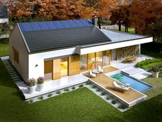 Projekt domu AC EX 11 (wersja C) soft CE - DOM - gotowy koszt budowy Small House Floor Plans, Cabin House Plans, Simple House Plans, Modern House Plans, Wood House Design, Bungalow House Design, House Front Design, Modern House Design, Farmhouse Architecture