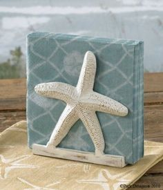 Amazon.com: Tropical Nautical Starfish Lunch Napkin Holder: Kitchen & Dining