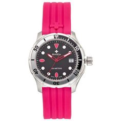 Swiza Women's Tetis Swiss Dive Watch (14,215 PHP) ❤ liked on Polyvore featuring jewelry, watches, pink, stainless steel jewellery, pink watches, water resistant watches, swiss quartz watches and bezel watches