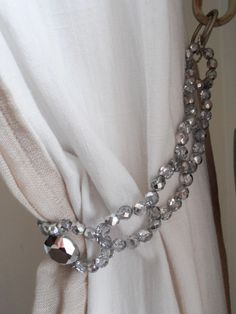Silver grey Czech glass beads curtain holder, tie back, drapery holder, windows treatment for wall hooks by MilanChicChandeliers on Etsy https://www.etsy.com/ca/listing/230238120/silver-grey-czech-glass-beads-curtain