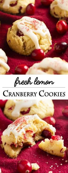 FRESH LEMON CRANBERRY COOKIES The fresh cranberries in these fresh cranberry cookies give them such a bright and zingy flavor which is completely different from dried cranberries! Don't just use fresh cranberries for sauce. Make cookies! Fresh Cranberry Recipes, Cranberry Dessert, Cranberry Cookies, Cranberry Sauce, Cranberry Fest, Lemon Cranberry Muffins, Orange Muffins, Cookie Desserts, Cookie Recipes