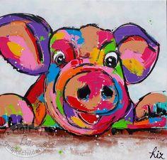 Afbeeldingsresultaat voor gekleurde varken Funny Paintings, Animal Paintings, Square 1 Art, Chicken Art, Funky Art, Pig Art, Artist Art, Watercolor Animals, Painting For Kids