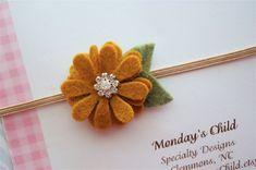 Felt Flower Headband in Golden Honey for Fall - Fall Headband - Newborn Headband, Baby Headband, Toddler Headband, Girls Headband