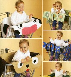Grocery Shopping Cart Covers for Baby Sewing Pattern Cow Dog Flower (I would love these when I have a kid because shopping carts are so gross.)