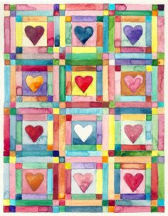 Heart Quilt Custom Card by reneeleonestudio on Etsy, $45.00