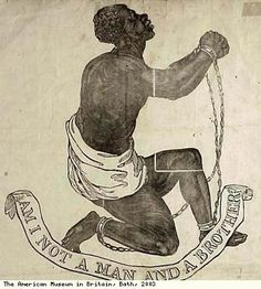 Disturbing Slave Trade Items From The Bristol Museum Exhibit In The U.K. Detail of poster against the slave trade Exhibit description: Produced by Abolitionists who campaigned for the end of slavery (c. 1860). The poster shows a kneeling figure of a slave in chains, with the words: Am I Not a Man and a Brother? Our Country Men in Chains