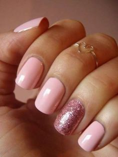 Baby-pink-nails-with-rose-glitter-accent-nail-art Glitter Accent Nail Art - Ideas for Accent Nails That Update Your Manicure Fancy Nails, Cute Nails, Pretty Nails, Glitter Accent Nails, Rose Gold Nails, Baby Pink Nails With Glitter, Pink Nail Art, Pink Gel Nails, Pastel Nails