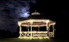 Our beautiful outdoor at night, The Beaverwood, Chislehurst, Kent. Wedding Venues, Wedding Ideas, Gazebo, Outdoor Structures, Night, Weddings, Beautiful, Wedding Reception Venues, Wedding Places