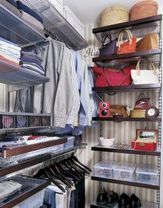 Consider investing in a shelving system (like Elfa) to get the most out of every inch of your closet. This closet has floor-to-ceiling shelves, using the highest shelves for rarely used items. Boxes, shelves, and double hanging rods provide space for different types of items.   - CountryLiving.com