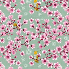 Blossoms and birds fabric by els_vlieger on Spoonflower - custom fabric