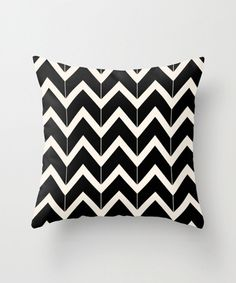 Black & Ivory Throw Pillow by Beth Thompson Chevron Throw Pillows, Throw Cushions, Black And White Pillows, Goth Home, Pillow Fight, Pillow Talk, Mobile Boutique, Textiles, Fluffy Pillows