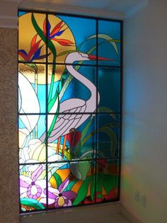 stained glass window  in beach house