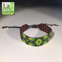 Bracelet tissé SEVENTIES marron, vert et or