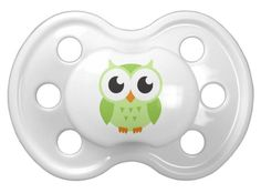 Cute green cartoon baby owl pacifier. Cute illustration featuring a little green cartoon baby owl. Fun design for kids.