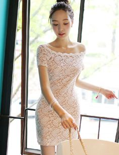 Elegant Off Shoulder Short Sleeve Pure Color Bodycon Lace Dress For Women