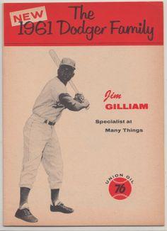 Dodgers Blue Heaven: The Jim Gilliam 1961 Union Oil Dodger Family Booklet Dodgers Fan, Dodgers Baseball, Sports Baseball, Sports Teams, Baseball Players, Baseball Cards, Oil Service, I Love La