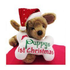 Puppy's First Christmas-Fleece Dog Toy Bone White-Cute Soft Plush Dog Puppy Accessories-Dog Lover Gift-Under 15 20 25