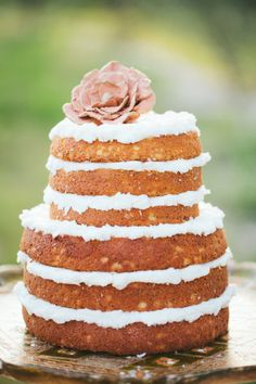naked cakes are our favorite cakes | Photography by loftphotographie.com | cake by http://moxiebakery.com |   Read more - http://www.stylemepretty.com/2013/07/24/spanish-inspired-shoot-from-loft-photographie/