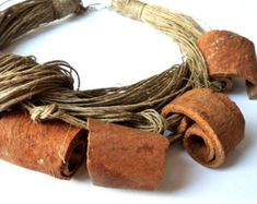 Organic gift necklace Linen Jewelry One of a от BalticAmberLove