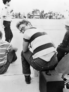 """James Dean photographed by Frank Worth, 1955.Jimmy looked at the photograph Worth had taken and suddenly made a big X over the picture. """"I don't want that printed,"""" Jimmy told him.  """"I couldn't figure out what was wrong because it wasn't a bad photo except that a bit of his underwear was slipping out of his pants,"""" said Worth. """"But Dean has been photographed with nothing but underwear on, so that wasn't it. The picture showed him with his head turned away for a moment. 'It makes me look…"""