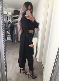 Black crop top / Black ripped jeans  / black stilettos