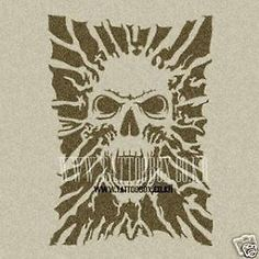 Gorgeous Reusable Stencil for Airbrush Temporary Tattoo Skull Large | eBay